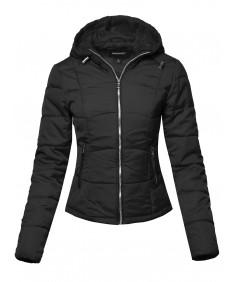 Women's Solid Hooded Packable Ultra Light Weight Short Down Jacket