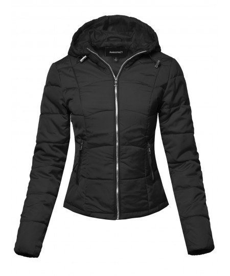Women's Solid Hooded Packable Ultra Light Weight Short Down Jacket