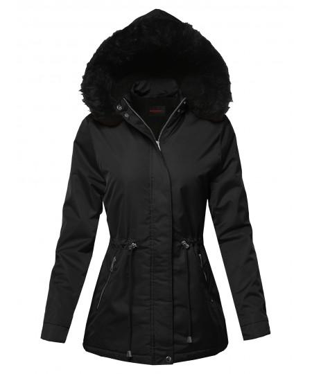 Women's Solid Hooded Warm Winter Thicken Fleece Lined Parkas Long Jacket