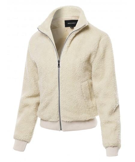Women's Solid Fashion Long Sleeve Lapel Zip Up Faux Shearling Shaggy Jacket