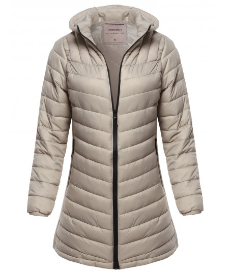 Women's Solid 20D Soft Fur Lined PP Padding Jacket