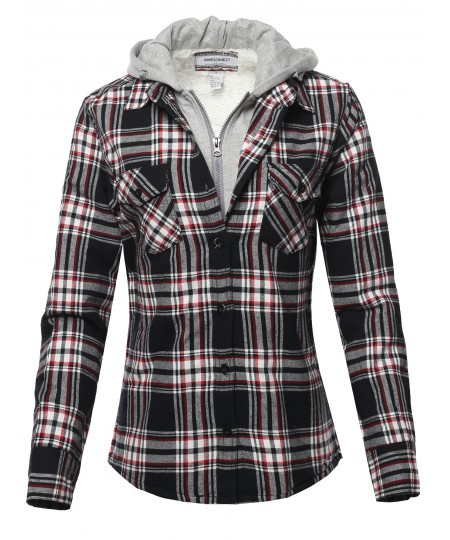 Women's Casual Fleece Hooded And Sherpa Lined Plaid Shirt Jacket