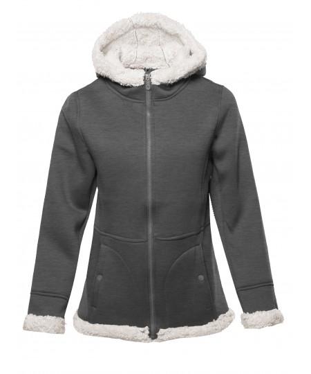 Women's Solid Sherpa Bonded Fleece Hooded Jacket