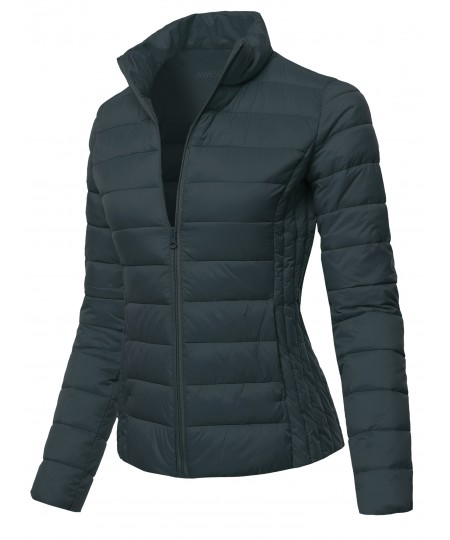 Women's Solid Stand Collar Puffer Jacket