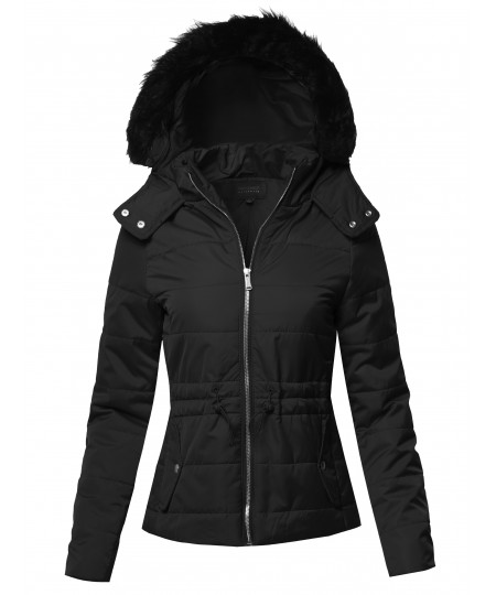 Women's Solid Quilted Parka Puffer Jacket