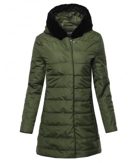 Women's Solid Long Line Puffer Coat Featuring Faux Fur Lined Hood