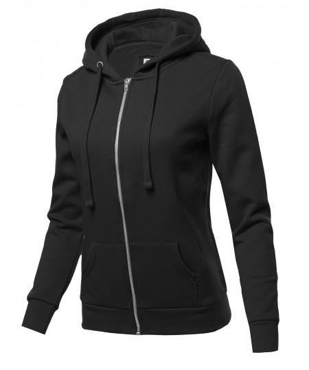 Women's Solid Fleece Full Zip Hoodie