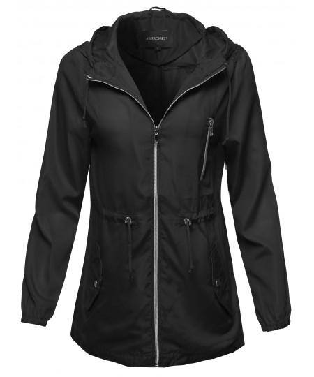 Women's Solid Lightweight Anorak Hooded Windbreaker Jacket