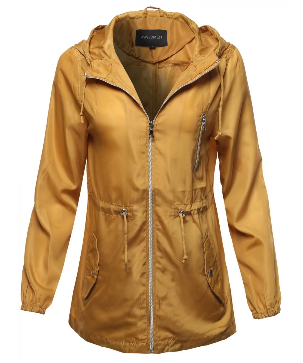 FashionOutfit Women/'s Solid Lightweight Windbreaker Anorak Jacket with Hoodie