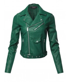 Women's Faux Leather Zip Up Front Biker Jacket