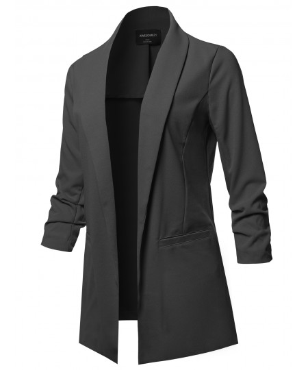 Women's Solid 3/4 Shirring Sleeves Open Front Blazer Jacket