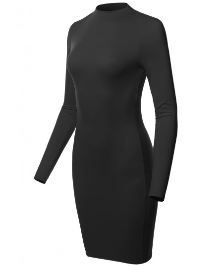 Women's Sexy Long Sleeves High Neck Mini Body-Con Dress - MADE in USA