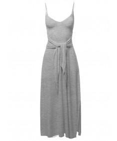 Women's Solid  Tie Waist Cute Slit Dress