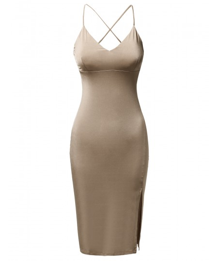 Women's Solid Silky Stretch Strappy Front Slit Midi Length Bodycon Dress