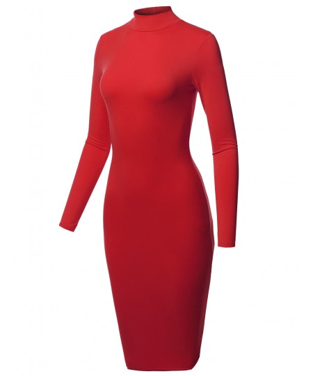 Women's Sexy Long Sleeves Mock Neck Midi Body-Con Dress - MADE in USA