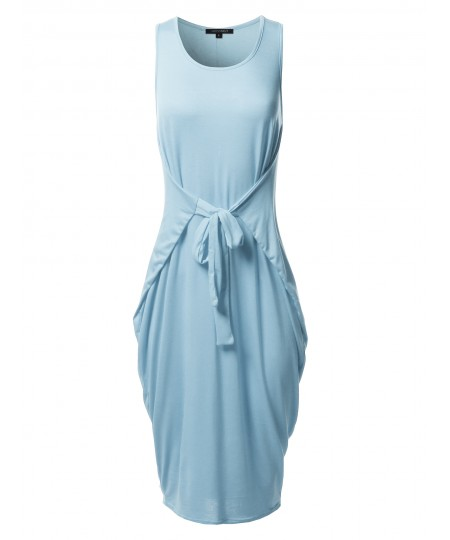 Women's Casual Front or Back Tied Up Midi Summer Dress - Made In USA