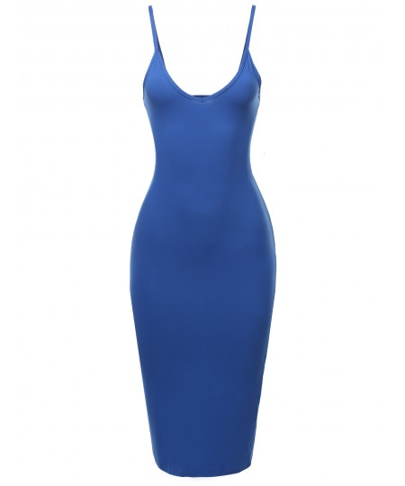 Women's Solid Back Slit Cami Body-Con Dress
