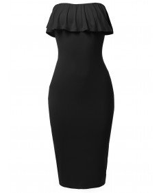 Women's Solid Sexy Ruffled Midi Dress