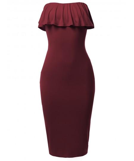 Women's Solid Sexy Ruffled Midi Dress