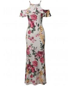 Women's Beach Wedding Guest Floral Ruffle Sleeve Maxi Dress Made in USA