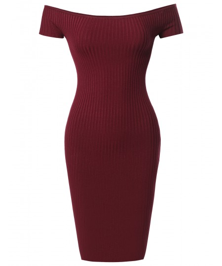 Women's Solid Midweight Stretch Ribbed Off Shoulder Bodycon Midi Dress