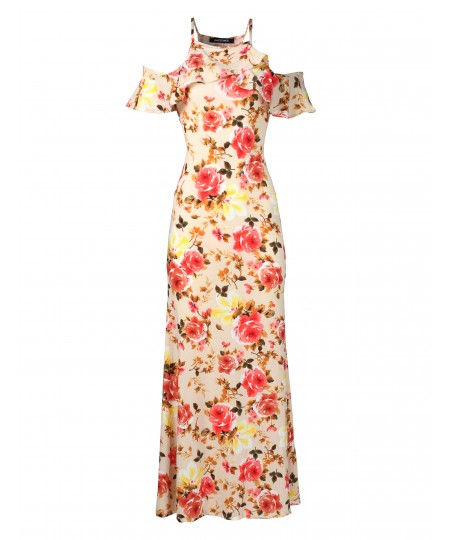 Women's Beach Wedding Guest Floral Ruffle Sleeve Maxi Dress Made in USA