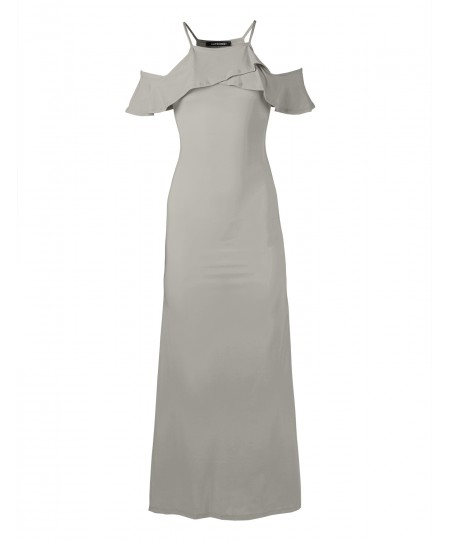 Women's Bridesmaid Wedding Solid Ruffle Sleeve Maxi Dress Made in USA