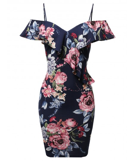 Women's Sexy Off Shoulder Ruffle Accent Midi Dress - Made in USA