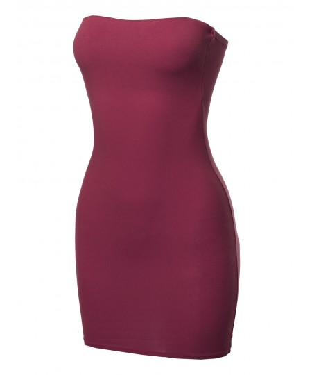 Women's Solid Fitted Tube Mini Dress