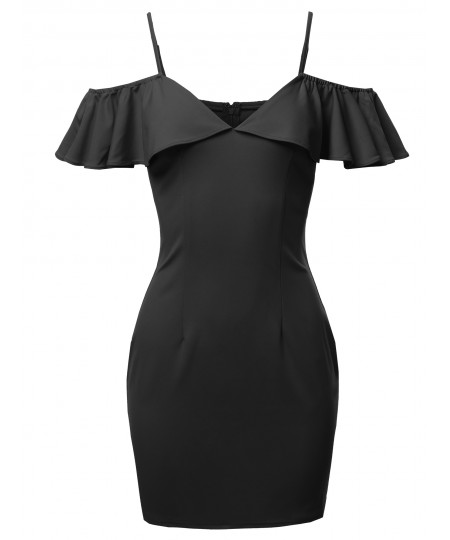 Women's Sold Strappy Off Shoulder Lovely Ruffled Mini Dress