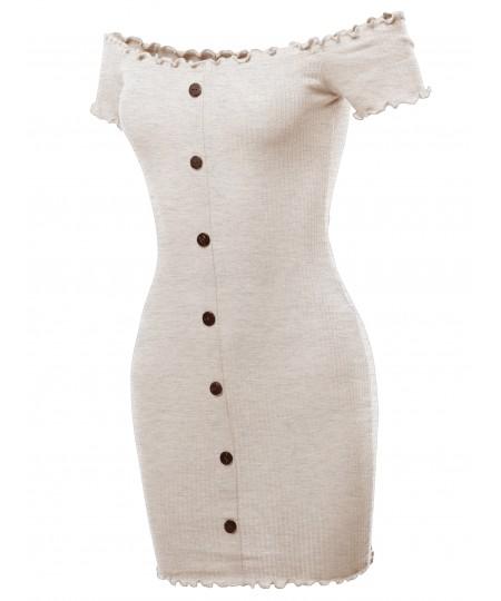 Women's Solid Button Down Off Shoulder Mini Dress