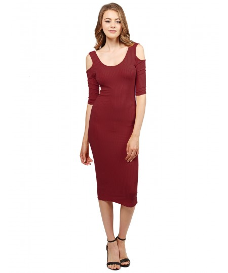 Women's Solid Soft Stretch Ribbed Cut out Shoulder Bodycon Midi Dress