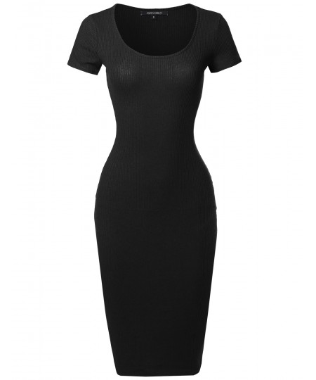 Women's Short Sleeve Scoop Neck Stretch Rib Body-Con Midi Dress