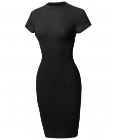 Women's Short Sleeve High Neck Stretch Rib Sexy Body-Con Mini Dress
