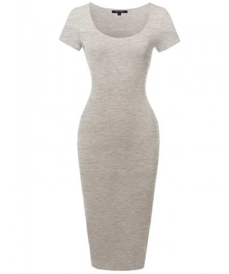 Women's Solid Scoop Neck Double Layer Short Sleeves Body-Con Dress