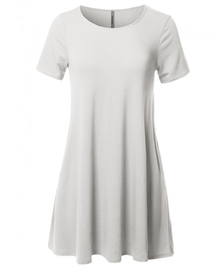 Women's Solid Premium Fabric Round Neck Short Sleeves Dress with Side Pocket