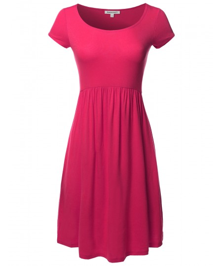 Women's Solid Cap Sleeves Round Neck Knee Length Midi Dress
