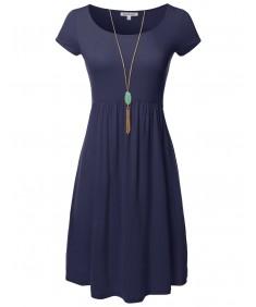 Women's Solid Cap Sleeves Round Neck Knee Length Midi Dress