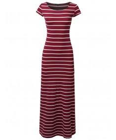 Women's Casual Stripe Round Neck Cap Sleeves Maxi Dress