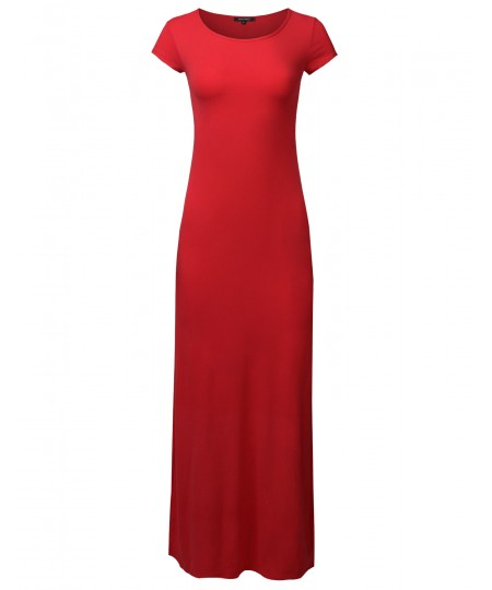 Women's Casual Solid Round Neck Cap Sleeves Maxi Dress