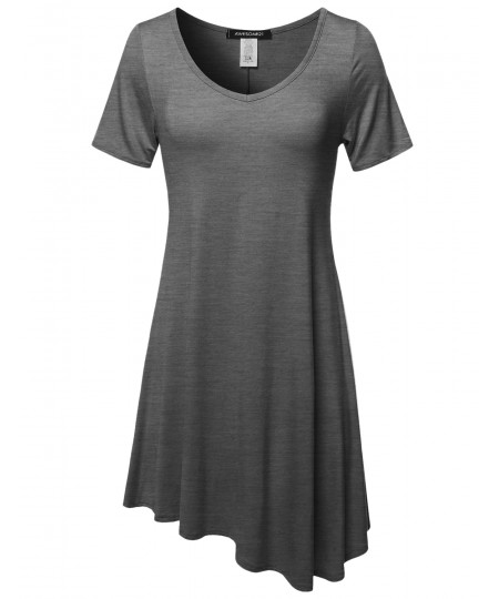 Women's Solid Short Sleeves Asymmetrical Swing Tunic Top T-Shirt - Made in USA