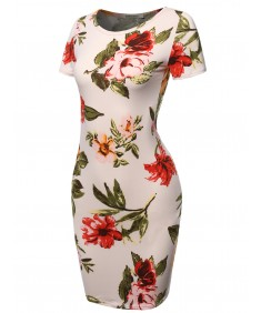 Women's Floral Print Short Sleeves Mini Body Conscious Dress