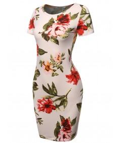 Women's Floral Print Short Sleeves Mini Body Conscious Dress