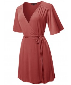 Women's Casual Solid Bell Sleeves Kimono V-Neck Wrap Dress