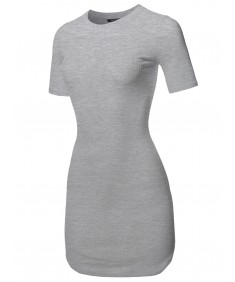 Women's Solid Short Sleeves Round Hem Ribbed Mini Dress