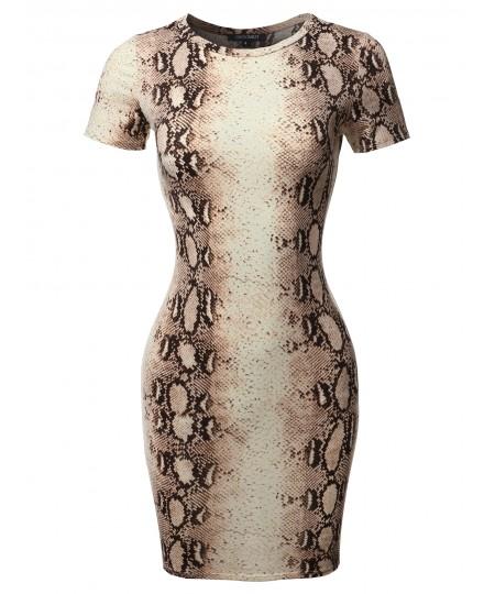 Women's Casucal Printed Sexy Body-con Mini Dress - Made In USA