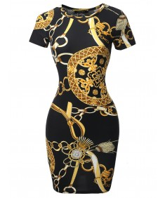 Women's Casucal Printed Sexy Body-con Mini Dress - Made In USA