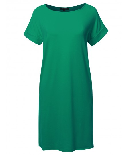 Women's Solid Short Sleeve Stretchy Loose fit Tunic Dress