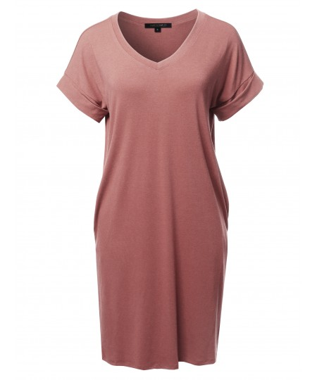 Women's Solid Short Sleeve Stretchy Loose fit V-neck Tunic Dress