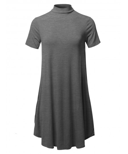 Women's Solid Mock Neck Short Sleeve Tunic Dress